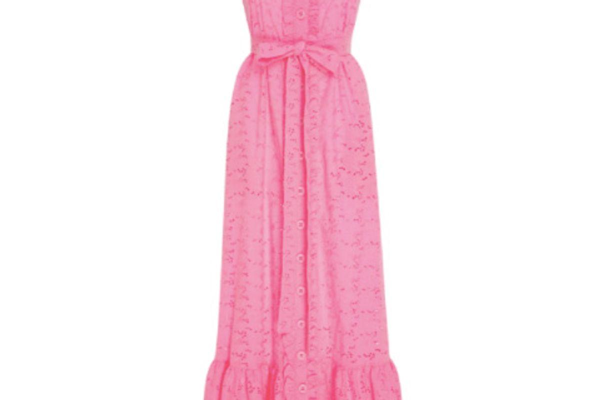 Ruffled Bodice Button Down Cotton-Lace Maxi Dress
