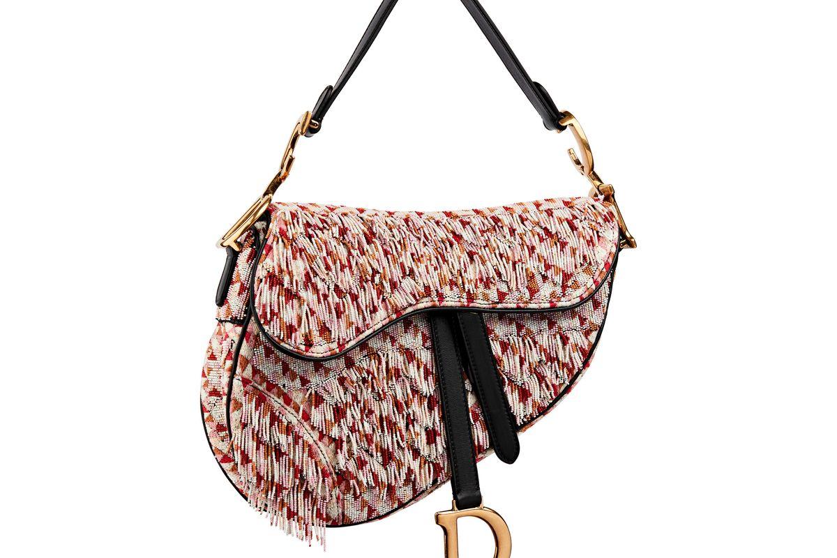 Pink Beaded Fringe Saddle Bag