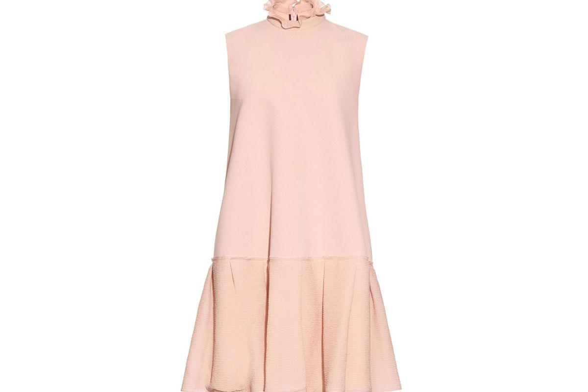 Keifer ruffled-collar double-crepe dress