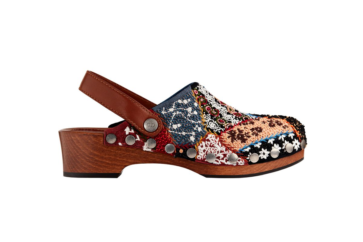 dior clog in embroidered patchwork