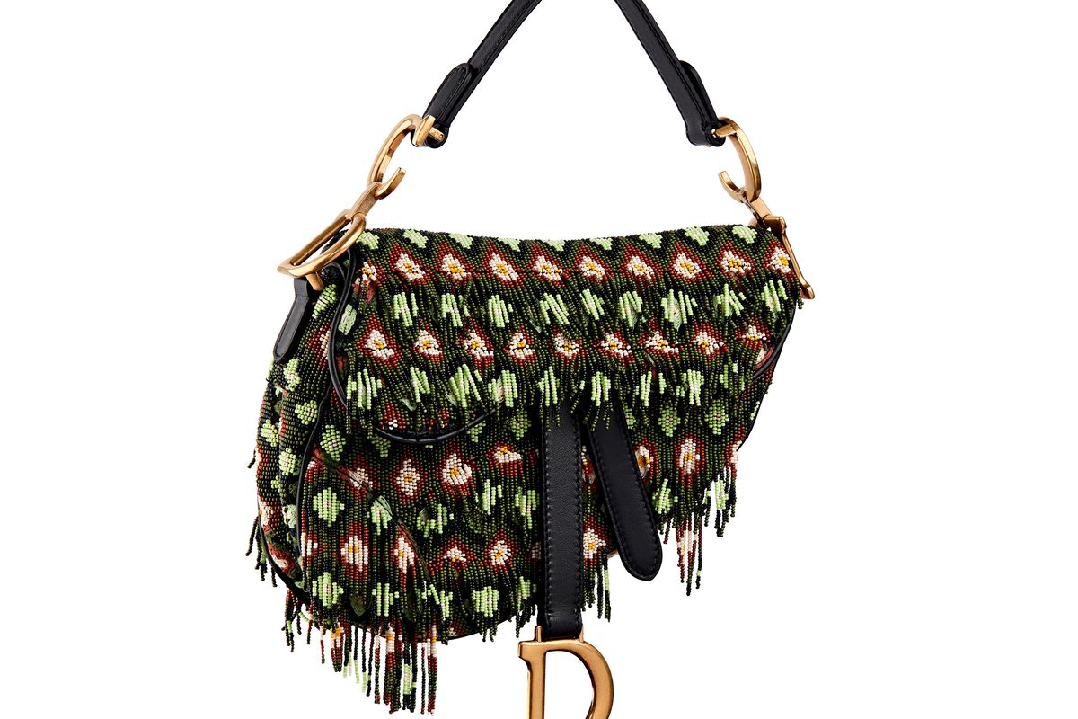 dior saddle bag in embroidered canvas