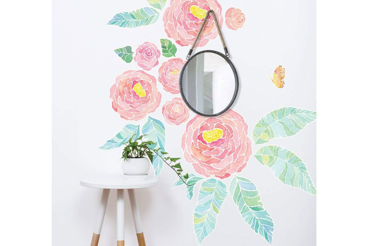 simple shapes spring garden flowers wall sticker