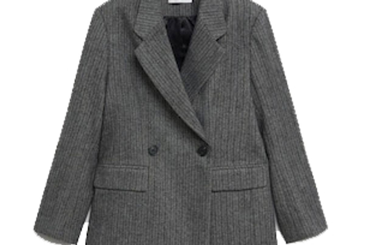 mango striped wool blazer