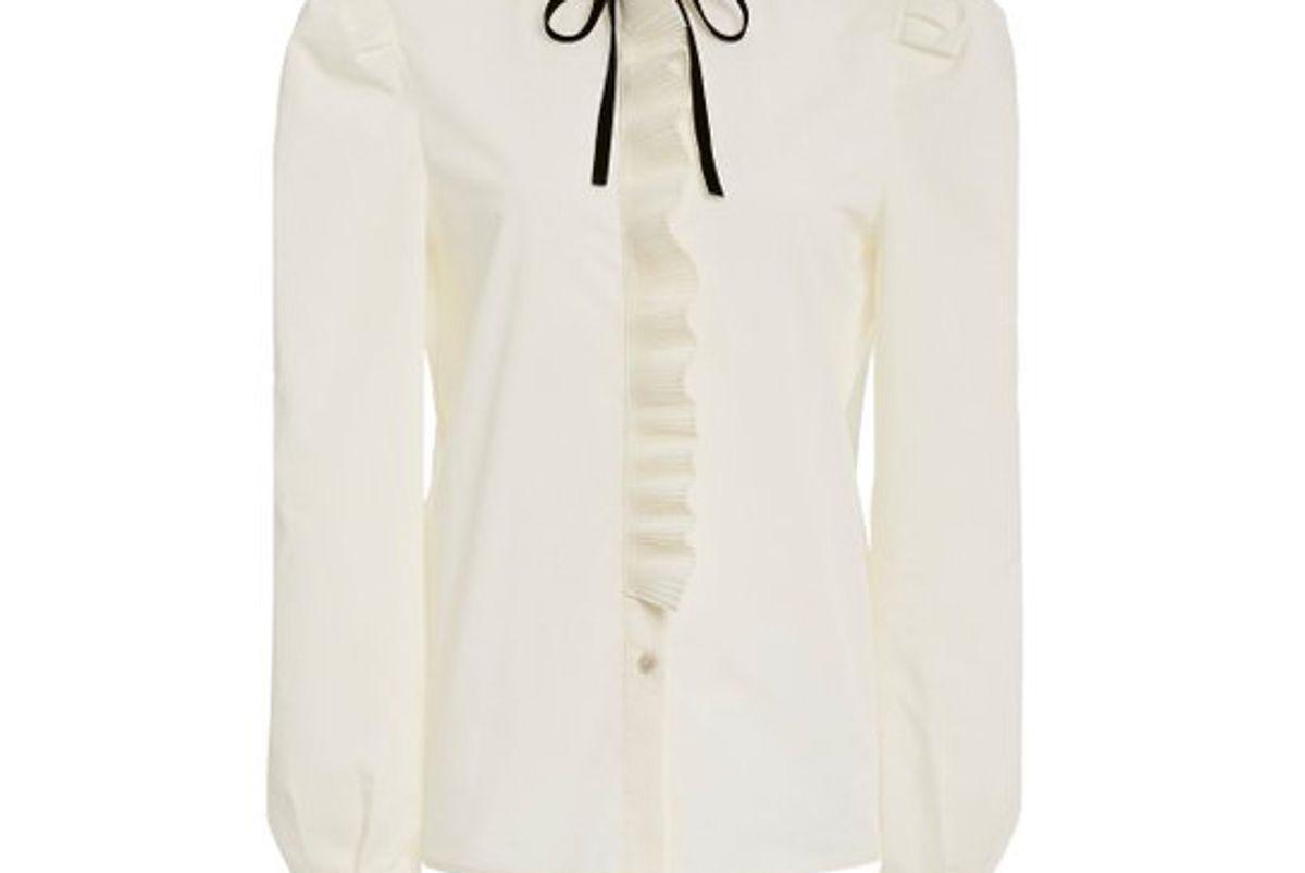 philosophy di lorenzo serafini tie detailed ruffled crepe blouse