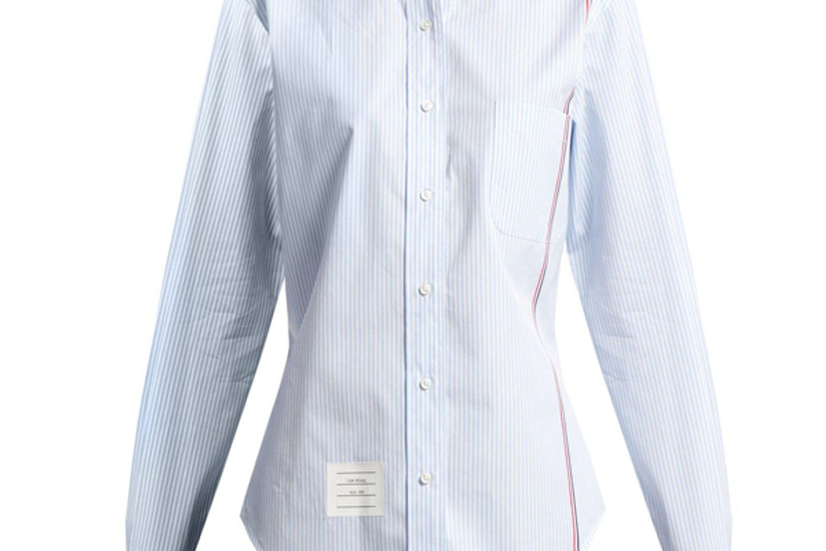 thom browne blue stripe button down striped cotton poplin shirt