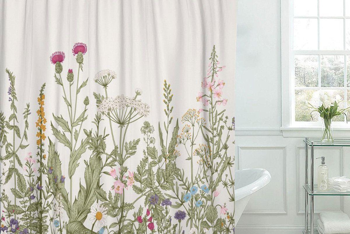 tompop vintage floral border herbs shower curtain