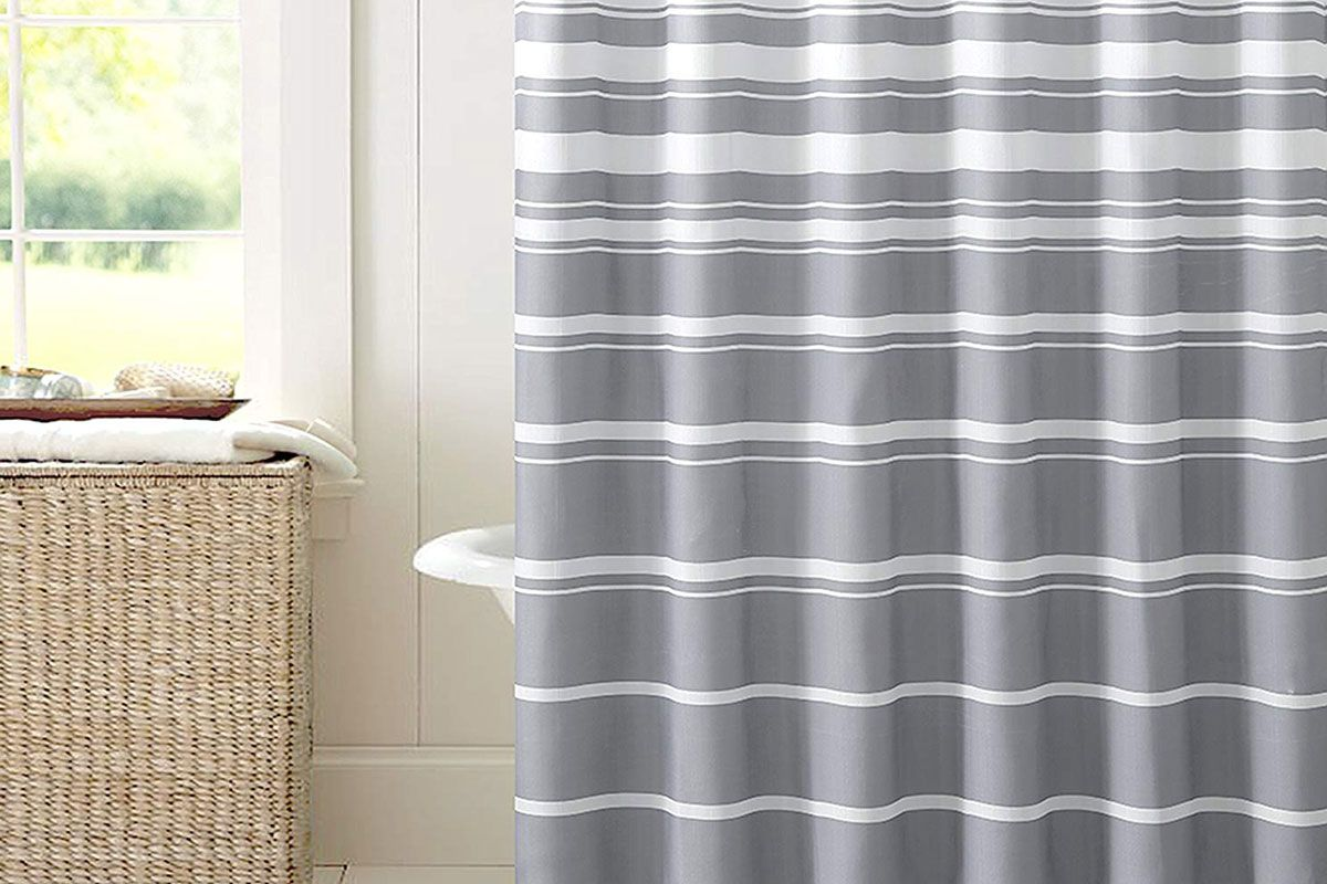 hudson and essex faux linen fabric shower curtain