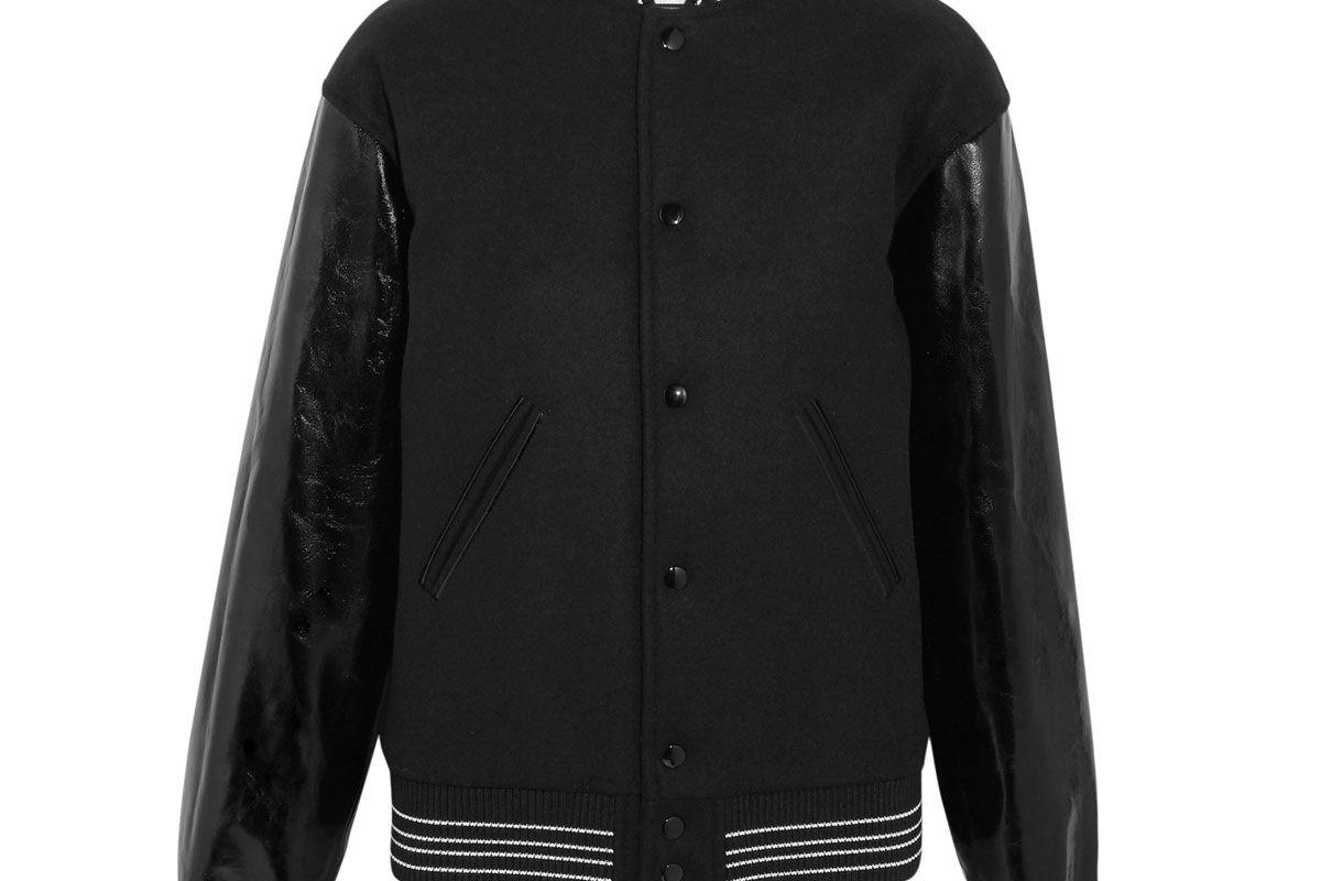saint laurent glossed leather paneled wool blend felt bomber jacket