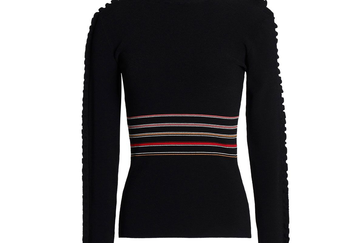 roksanda ruffle trimmed striped ribbed knit turtleneck sweater