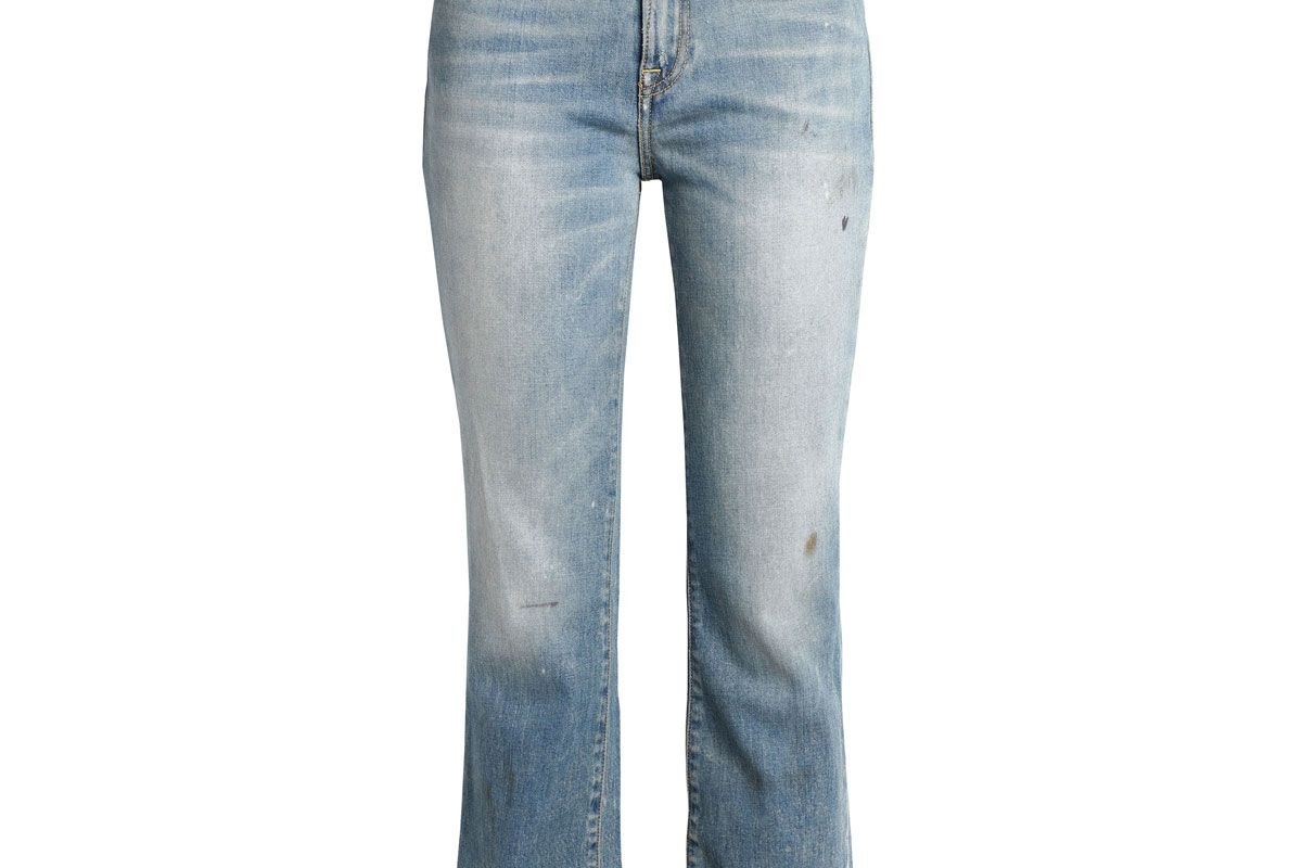 r13 shiloh cropped distressed mid rise bootcut jeans
