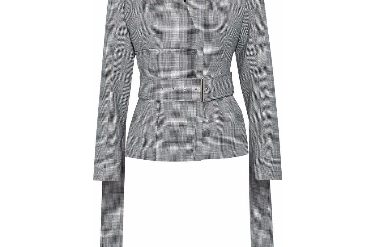 solace london alizze prince of wales checked wool and cotton blend jacket