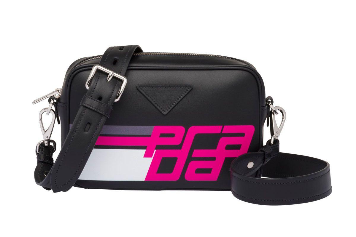 prada logo print leather shoulder bag