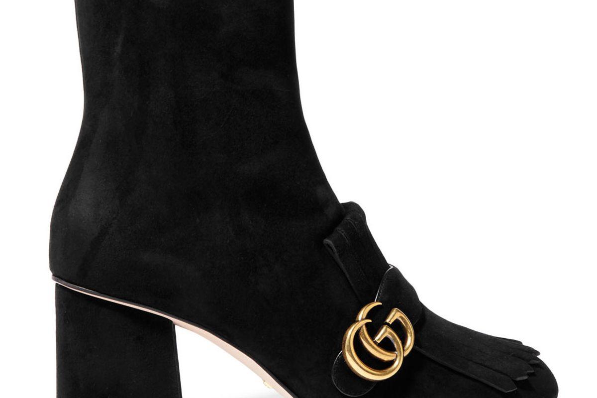 gucci fringed logo embellished suede ankle boots