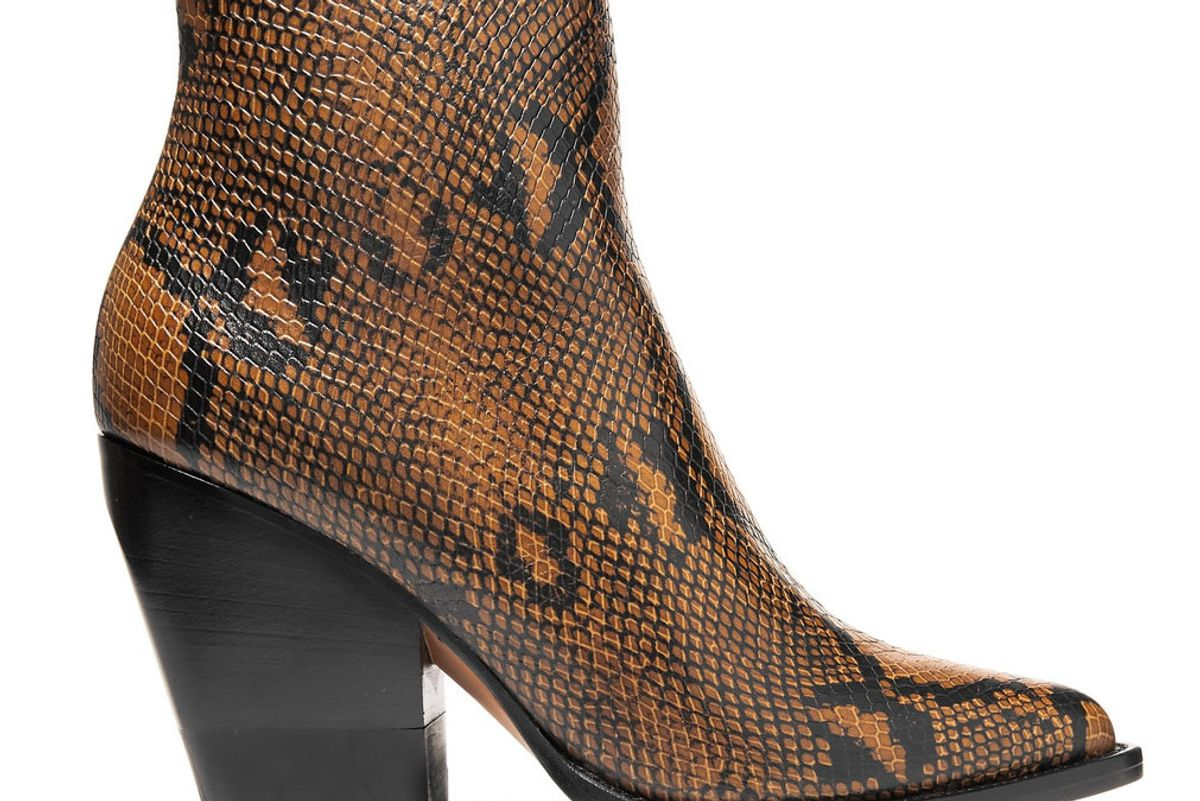 chloe rylee snake effect leather ankle boots