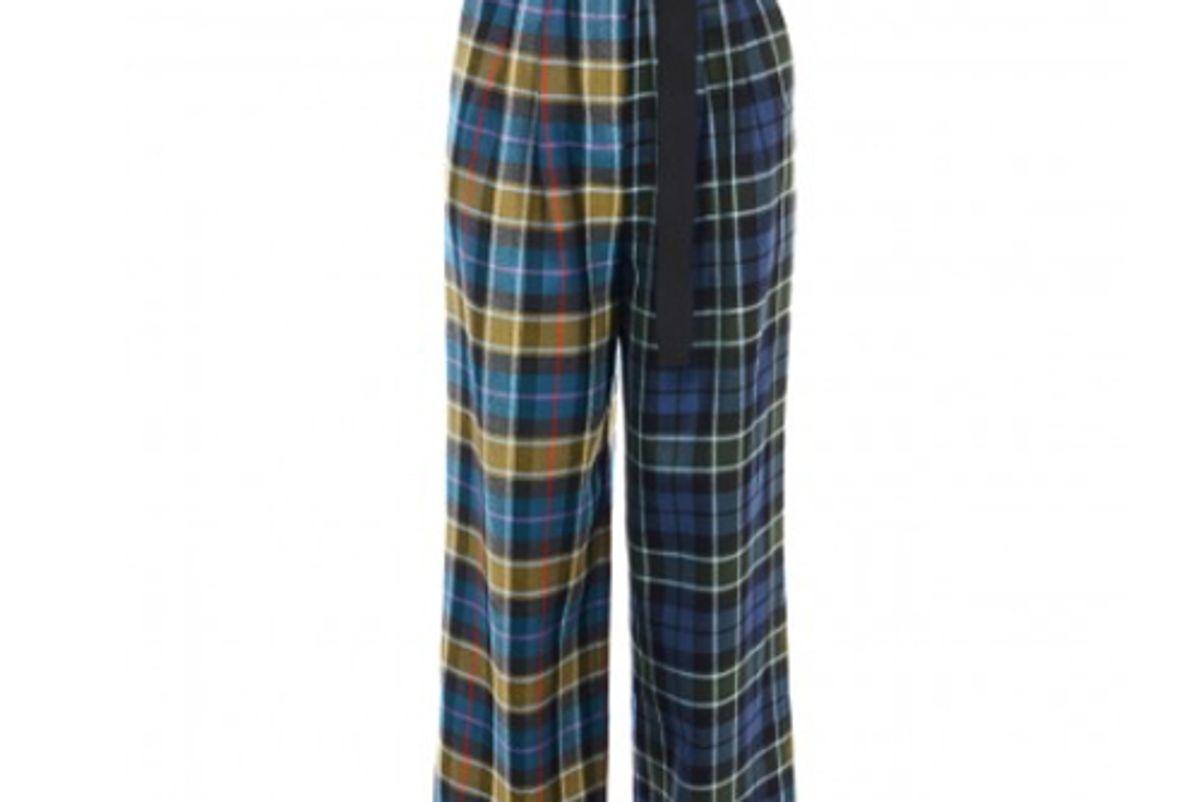 tibi tartan stella wide leg paperbag pants with removable belt
