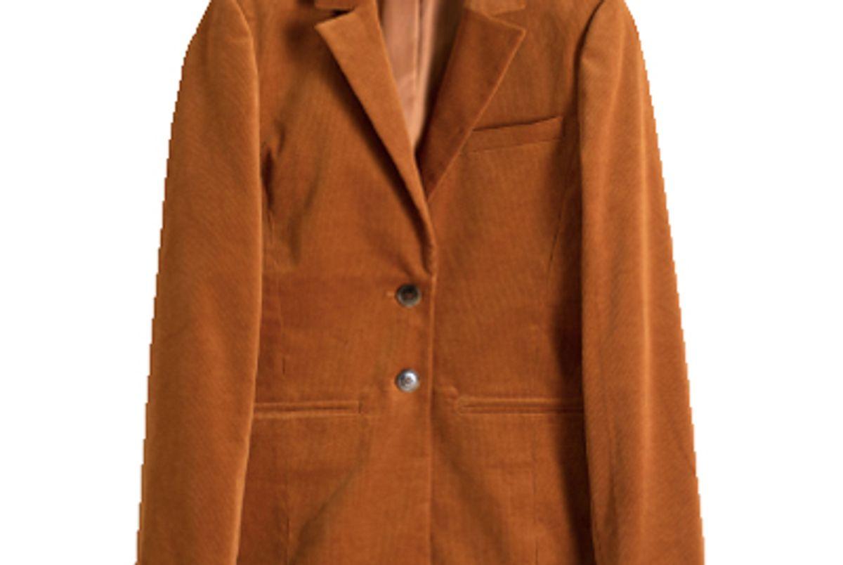 stories corduroy blazer orange