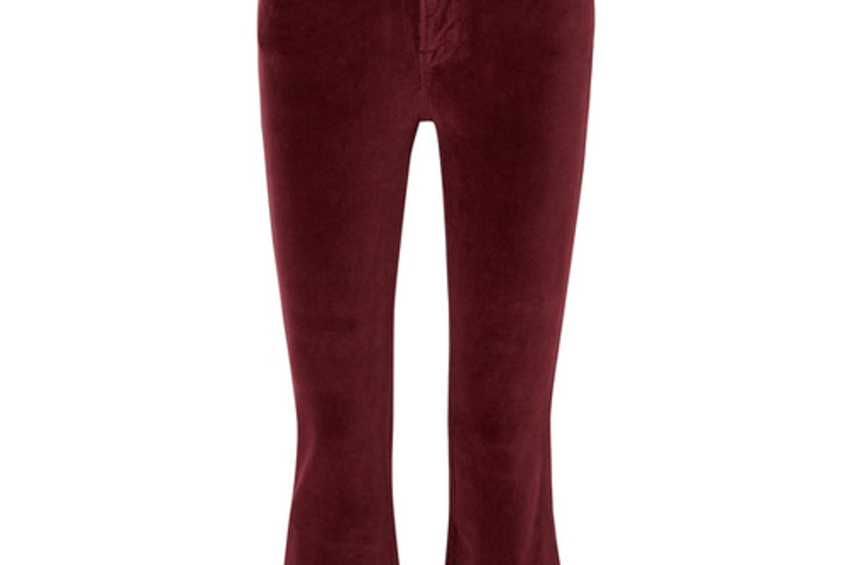 frame le crop mini boot cotton blend velvet flared pants