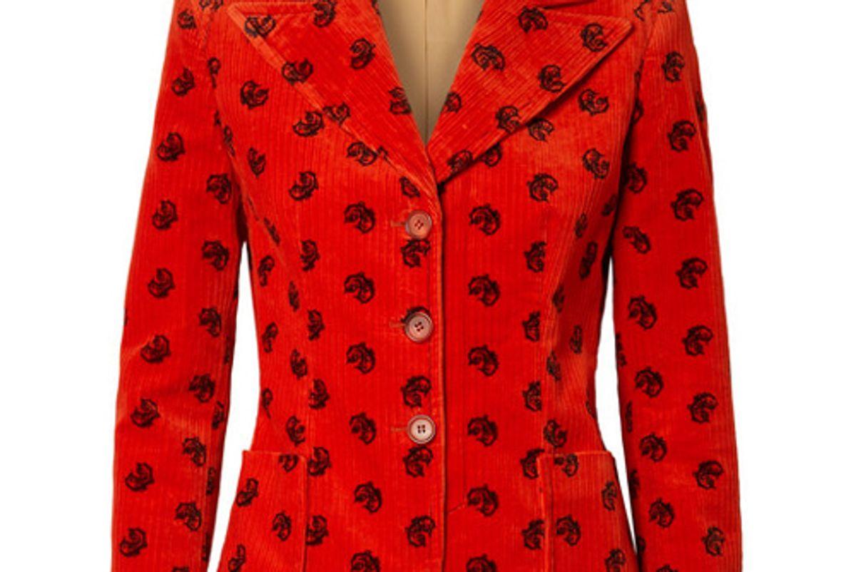 chloe printed cotton blend corduroy blazer