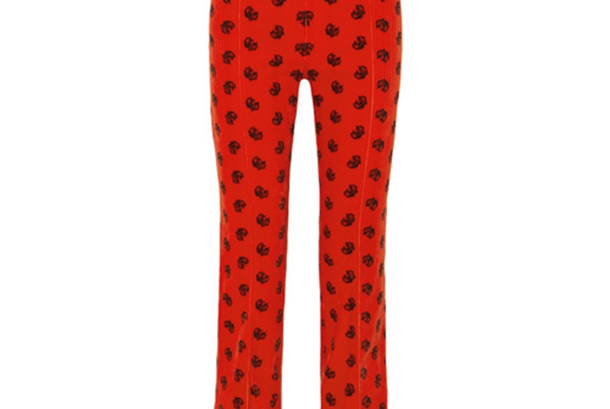 chloe printed cotton blend corduroy slim leg pants