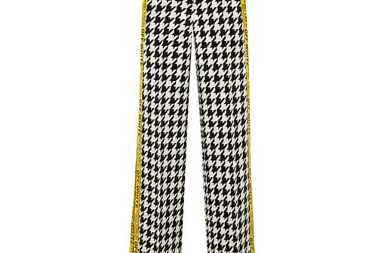 off white appliqued houndstooth wool blend wide leg pants