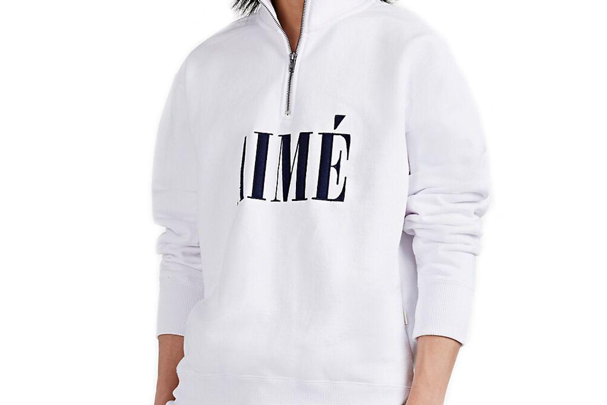aime leon dore logo qppliqued cotton half zip sweatshirt