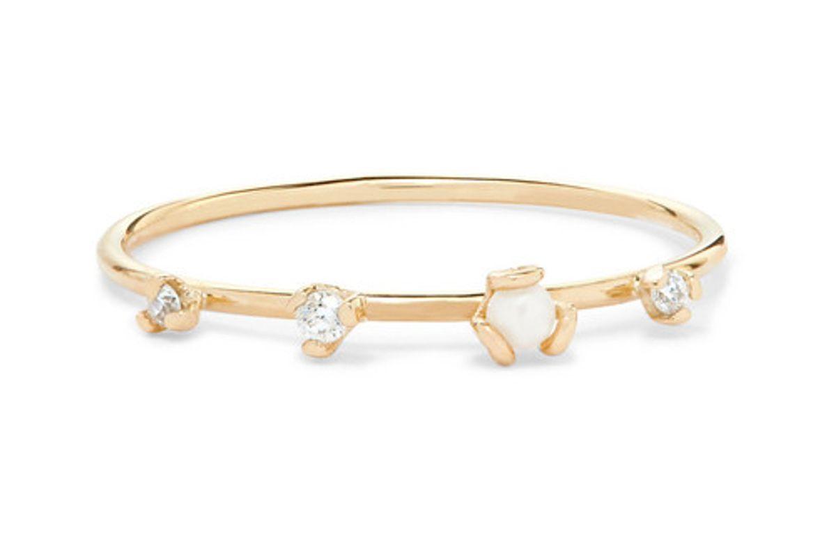 sarah sebastian petite heirloom 9 karat gold diamond and pearl ring