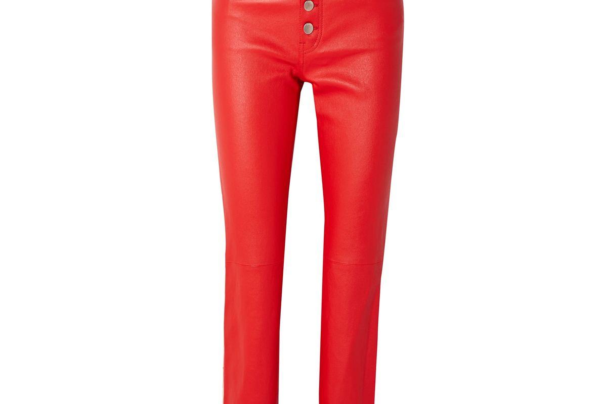joseph den leather straight leg pants