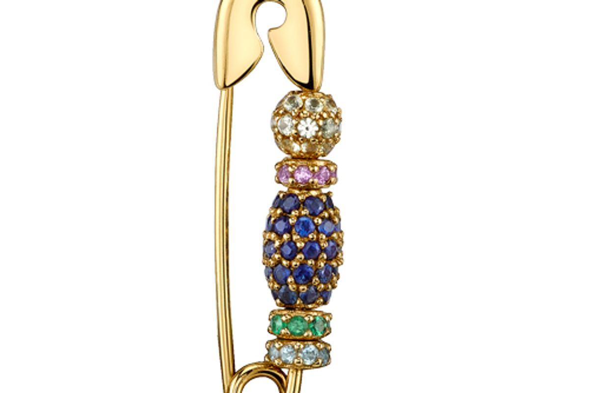 the last line pave beaded safety pin earring