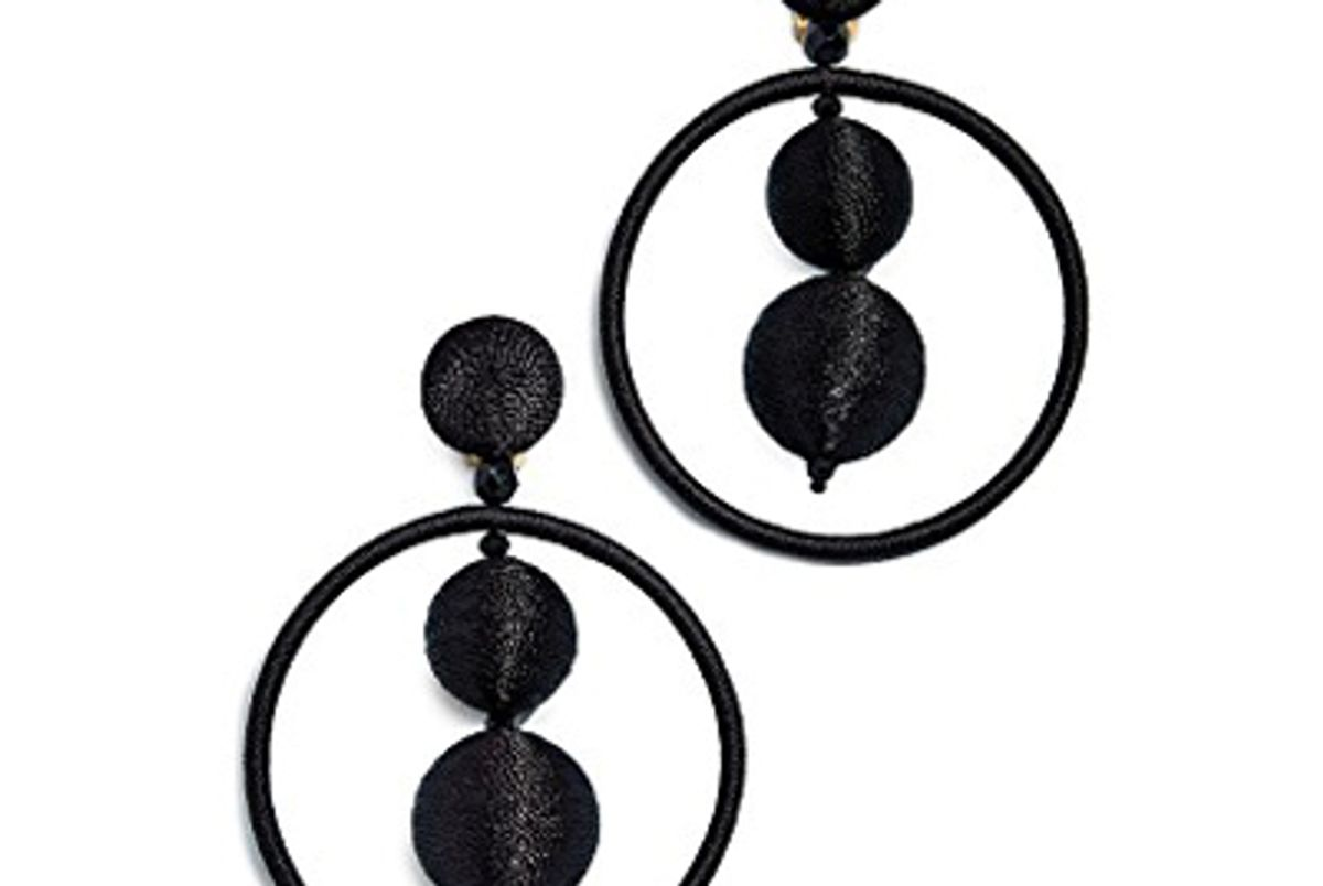 oscar de la renta double beaded ball hoop earrings