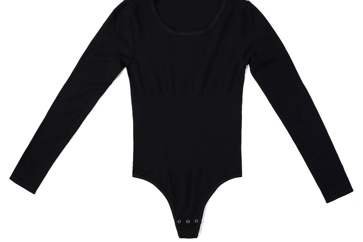 yummie long sleeve thong back bodysuit