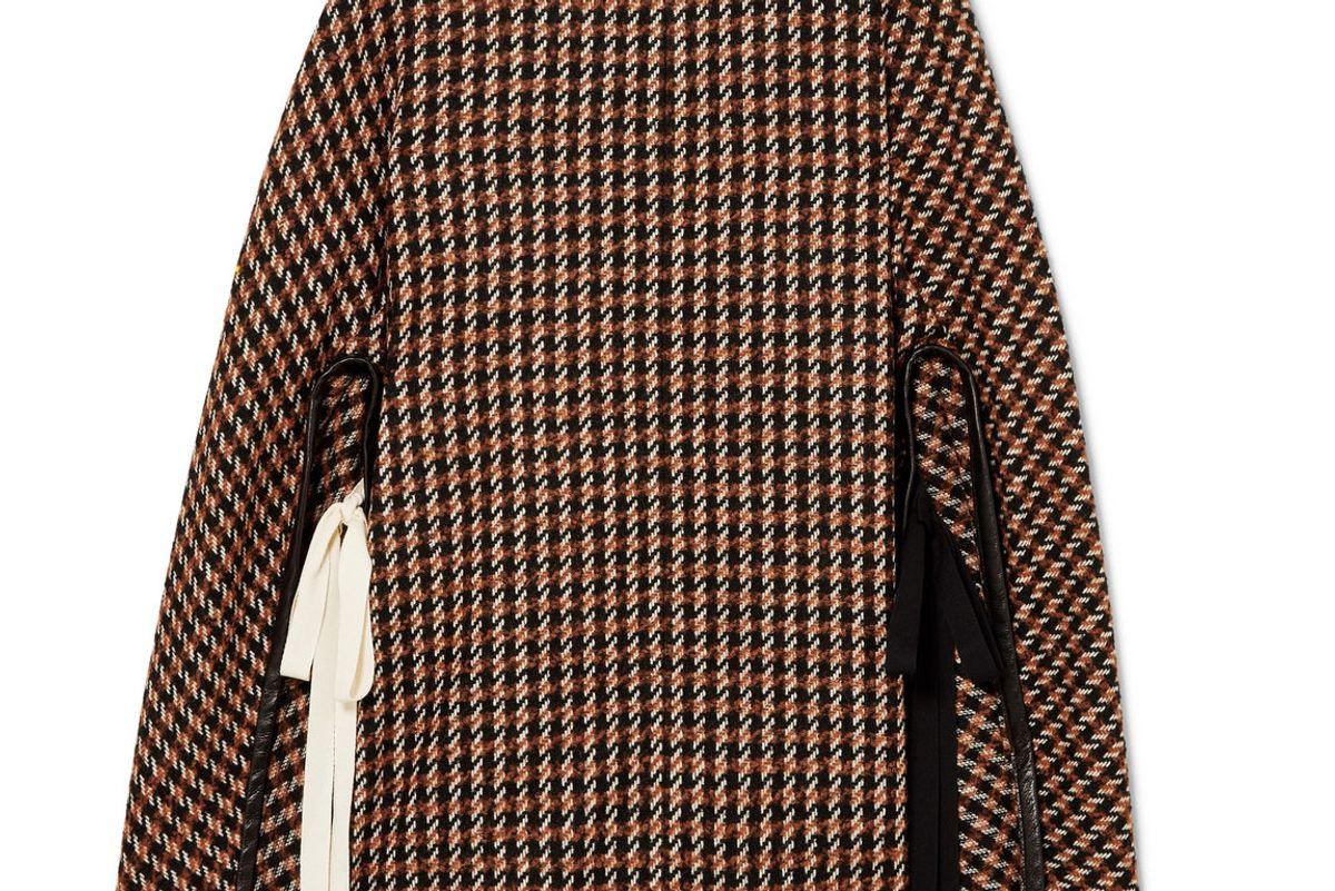 derek lam leather trimmed checked wool blend tweed poncho