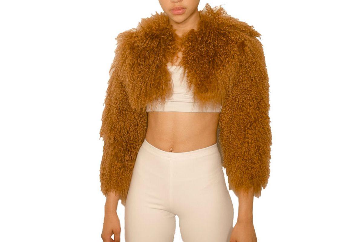 char workroom shani cropped mongolian fur coat