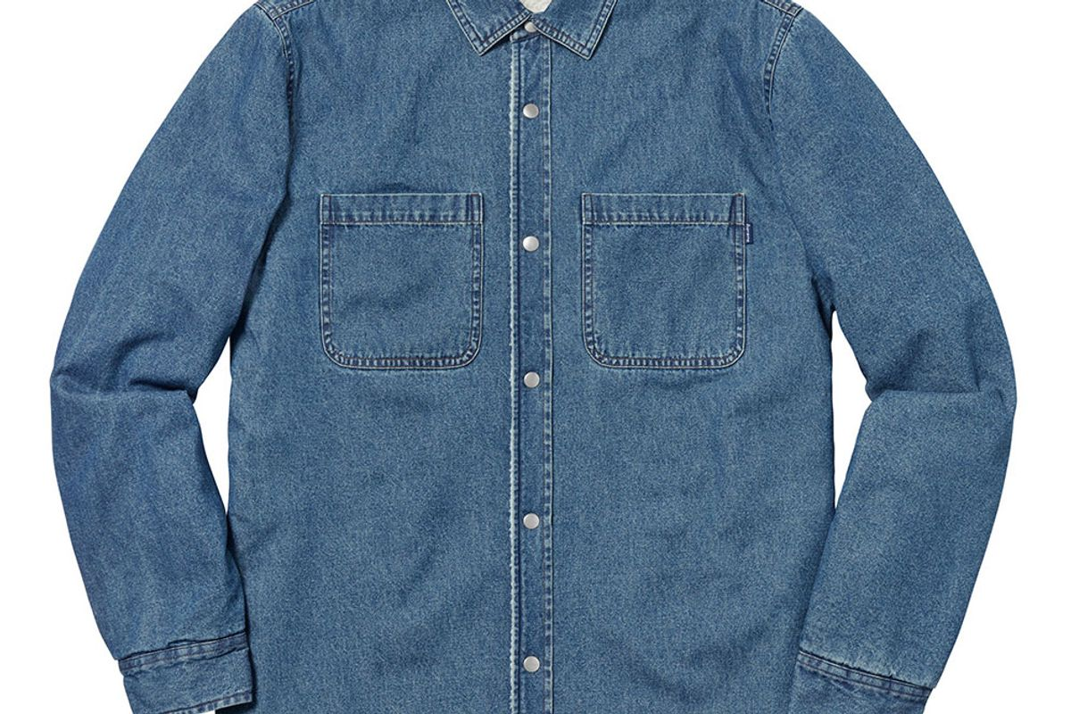 supreme sherpa lined denim shirt