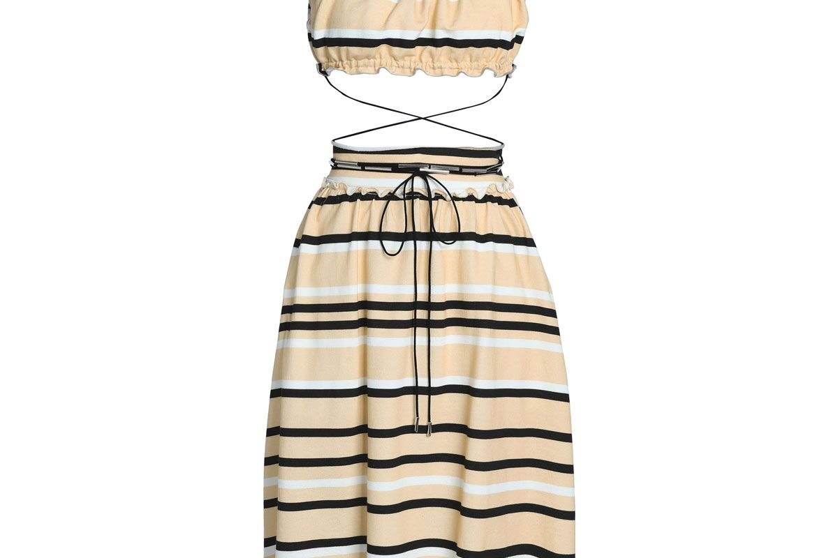 jw anderson ruffle trimmed striped french cotton terry dress