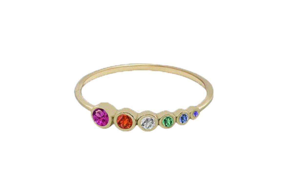 shami official rainbow row dainty ring