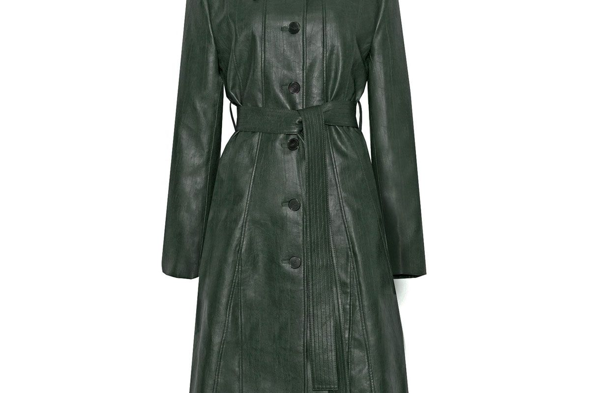 pixie market hunter green leather trench