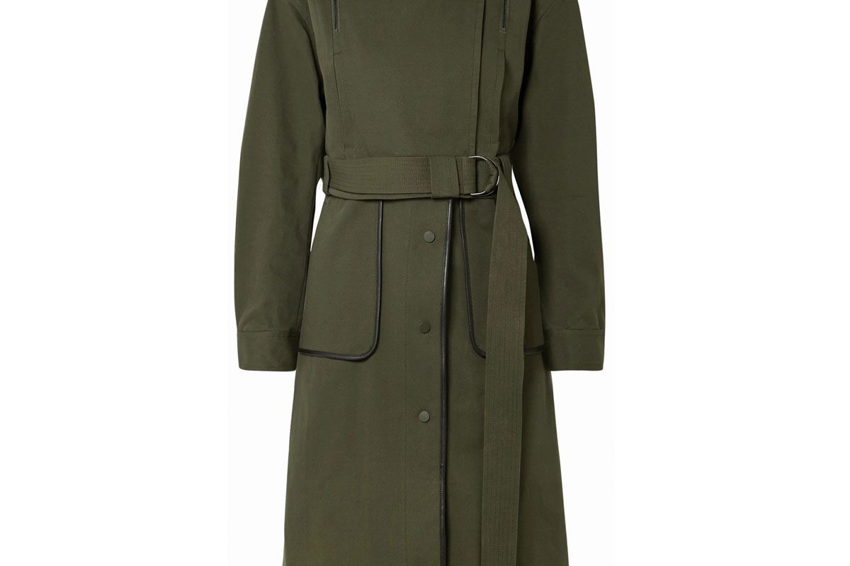 jason wu grey convertible leather trimmed cotton blend twill coat
