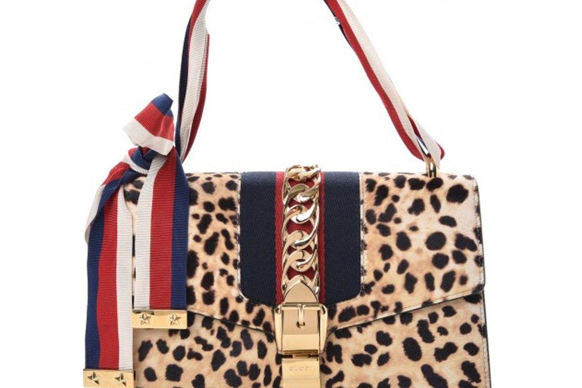 gucci small leopard print sylvie bag