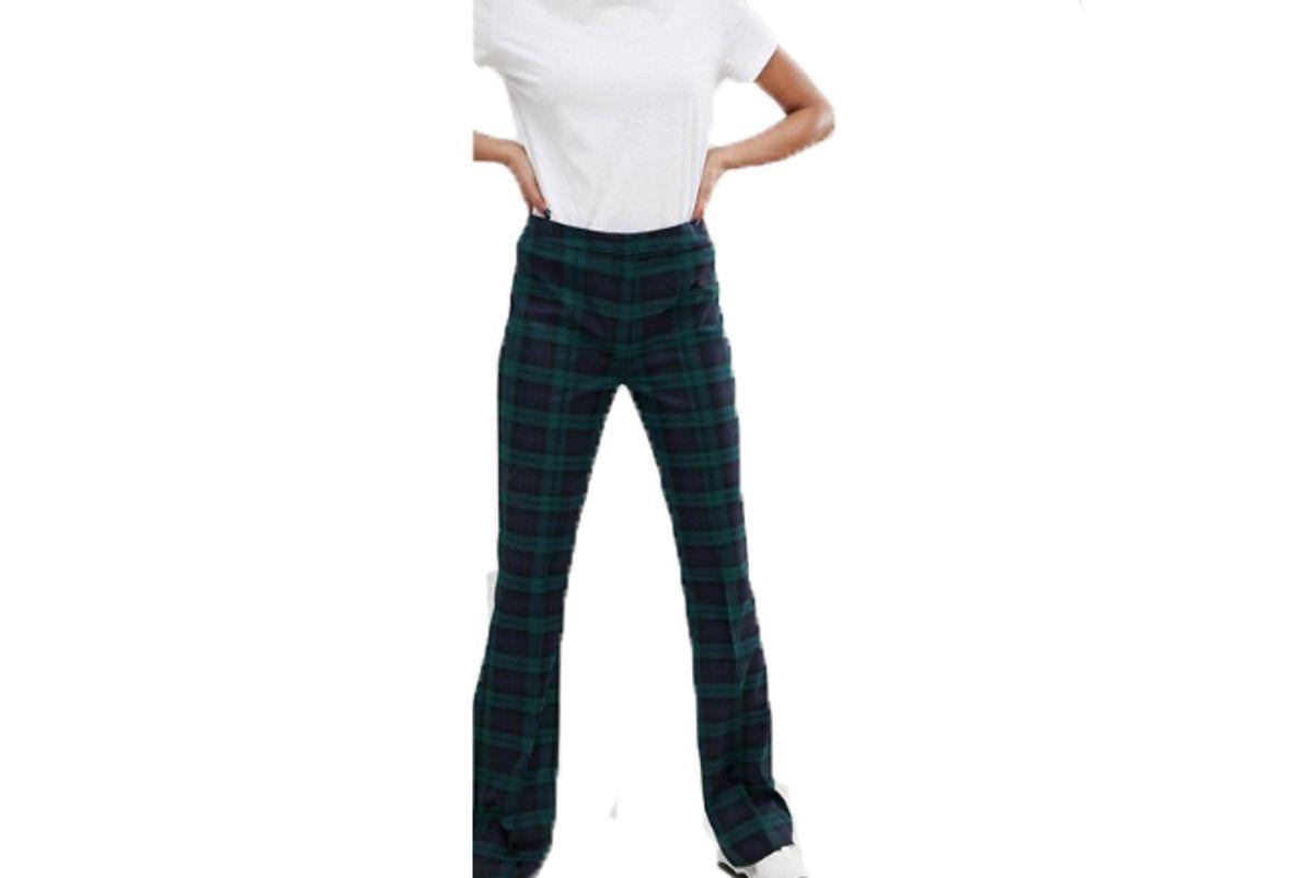 asos design tall slim kick flare pants in nightwatch