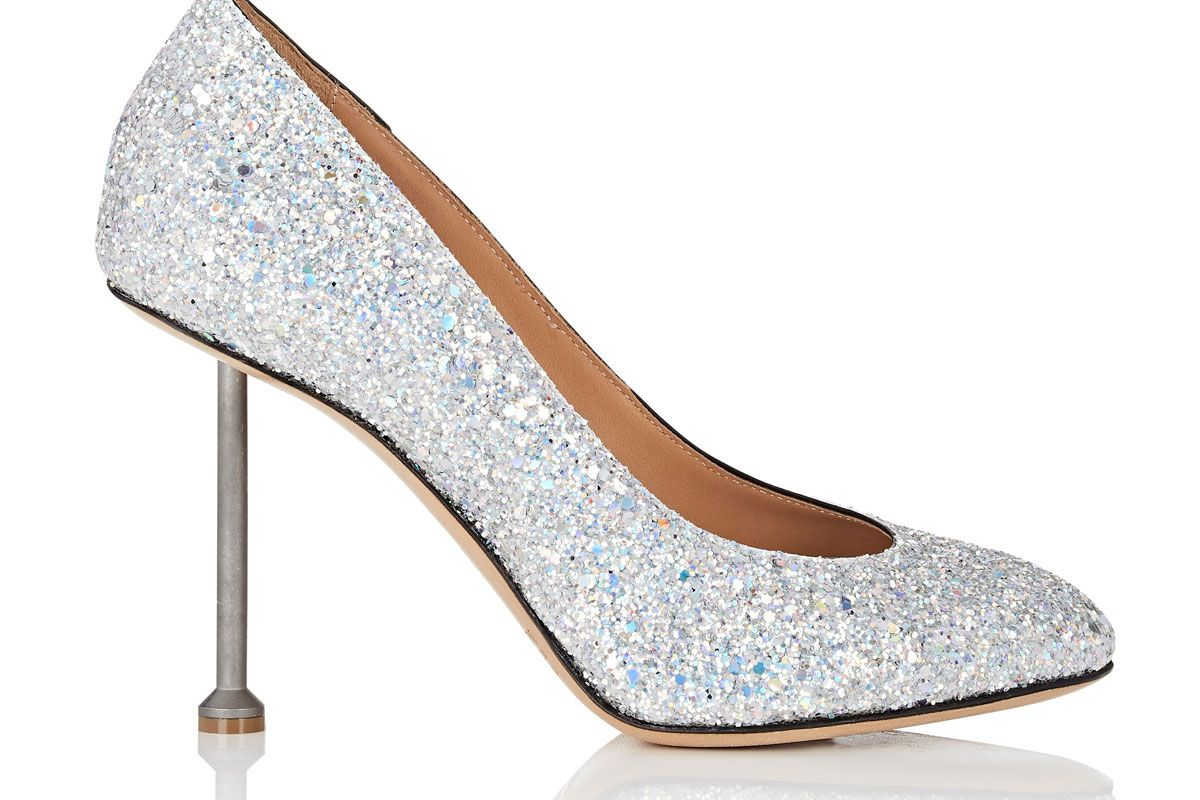 maison margiela metal heel glitter pumps