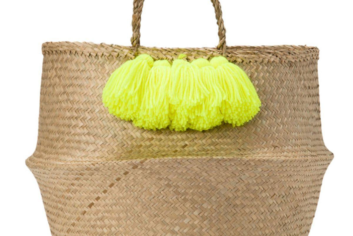Neon Yellow Tassel Basket