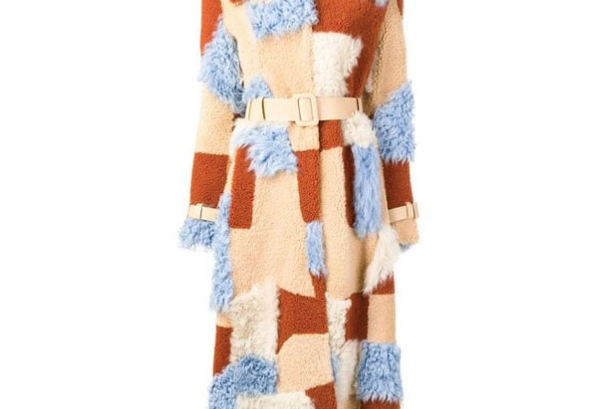 off-white patchwork coat