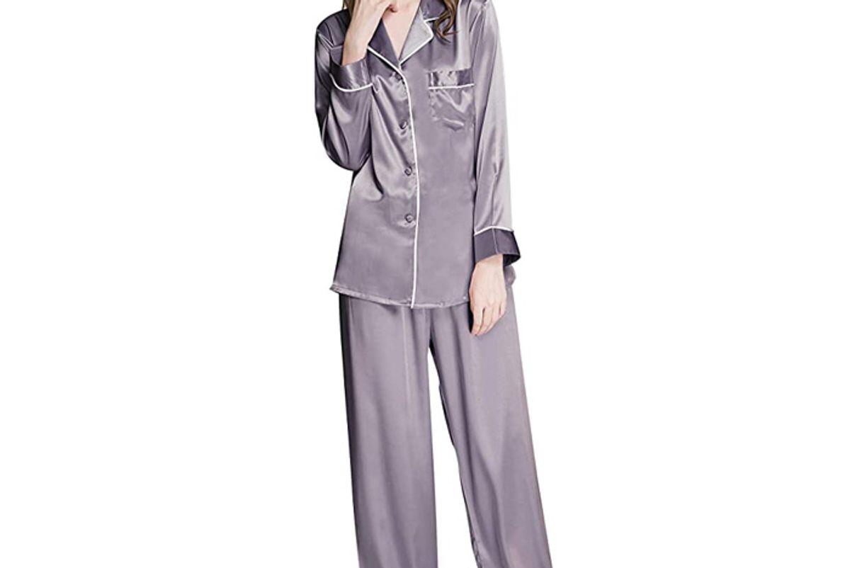 lonxu womens silk Satin pajamas set button down sleepwear loungewear xs 3xl