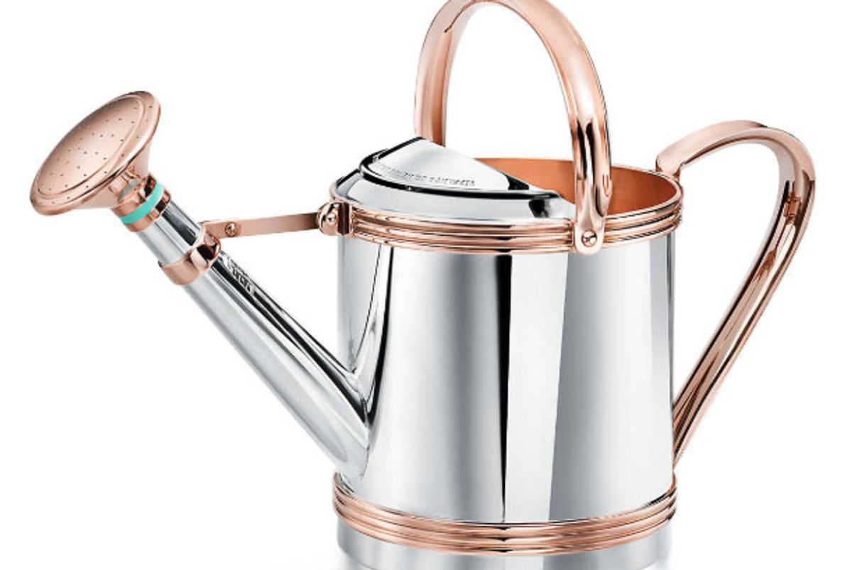 tiffany and co sterling silver and copper watering can