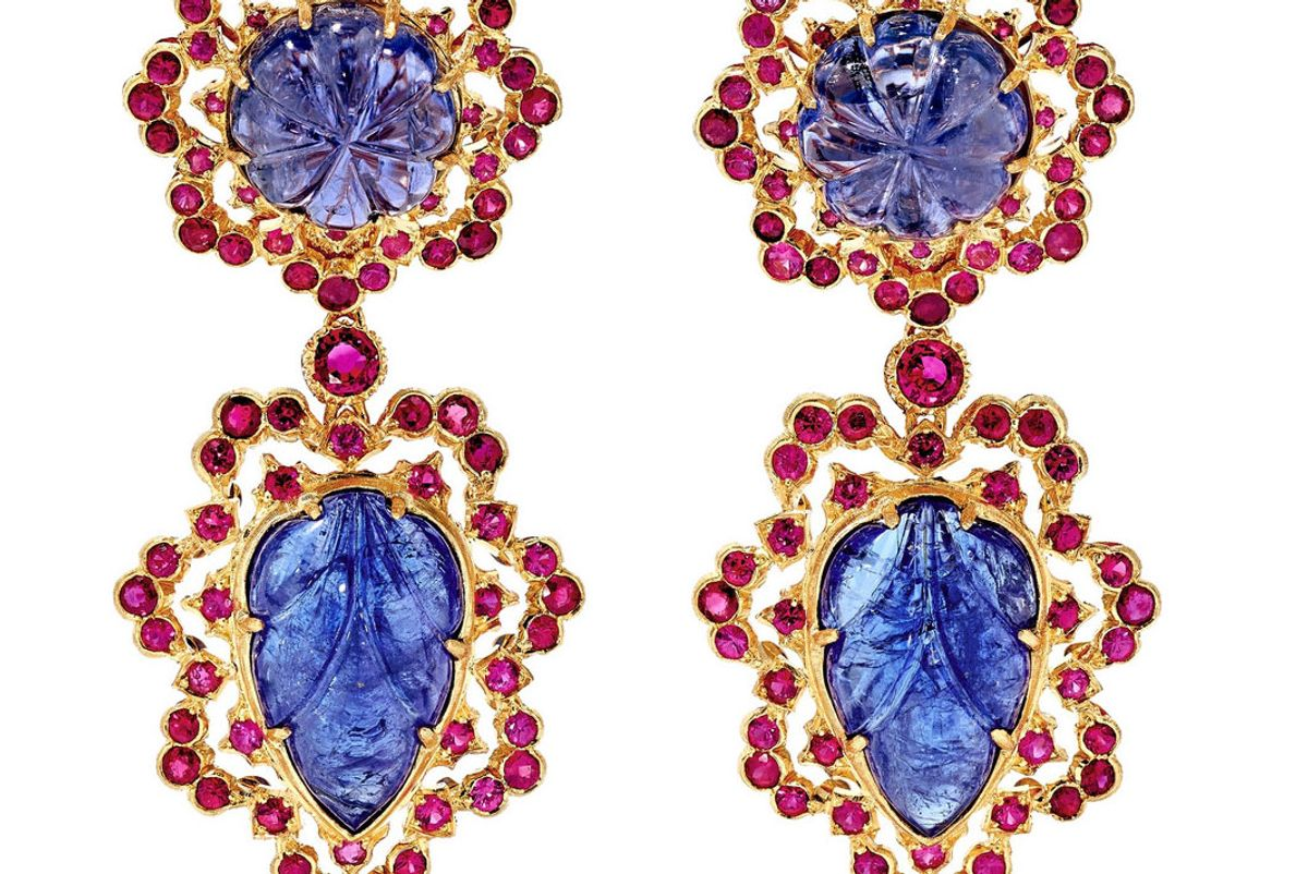 buccellatio 18 karat gold tanzanite and ruby earrings
