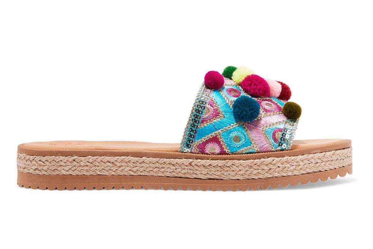 Violette Embellished Leather Platform Sandals