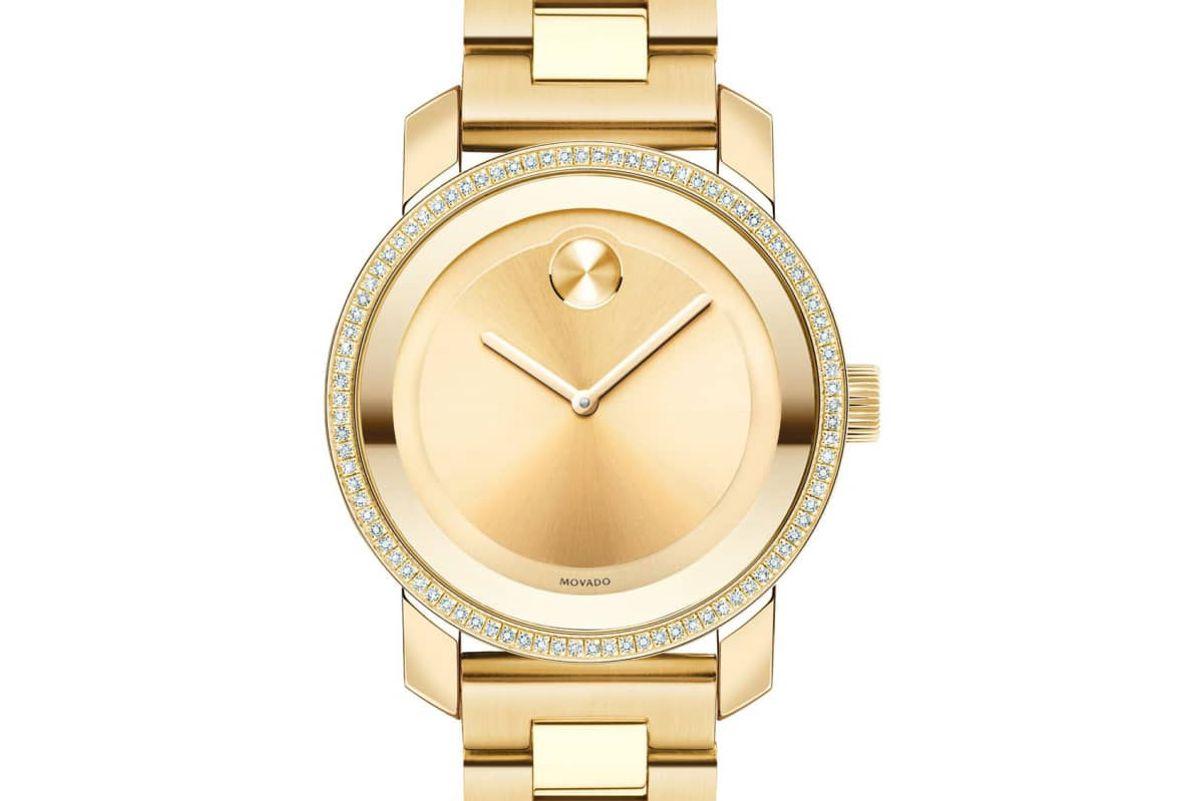 movado bold diamond bezel bracelet watch 36mm
