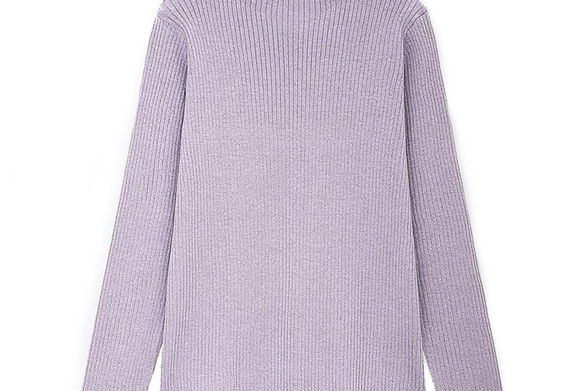 uniqlo women shiny ribbed high neck sweater