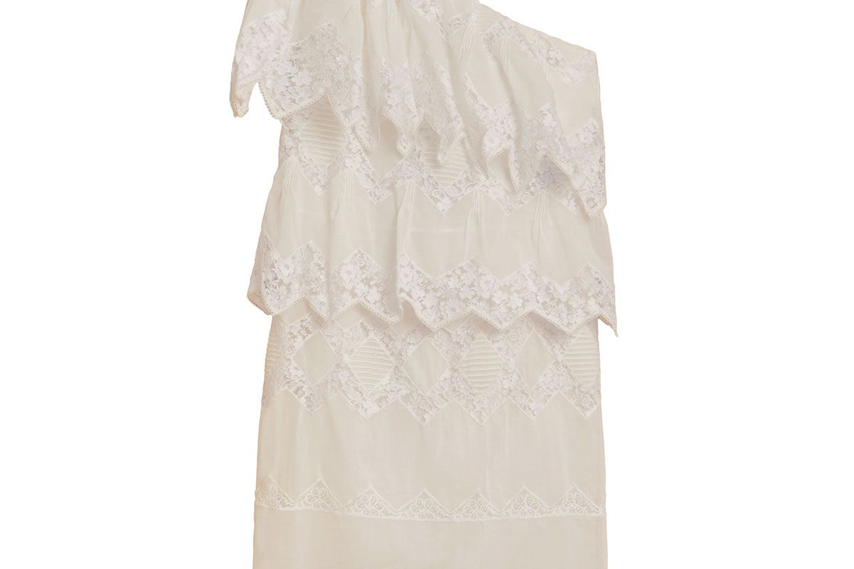 One-shoulder Cotton Voile and Lace Dress