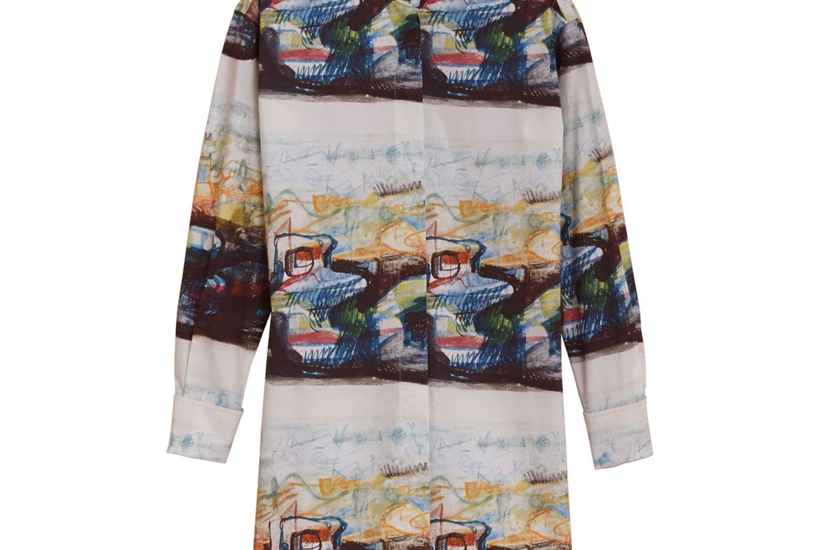 Reclining Figure: Bunched Print Shirt Dress